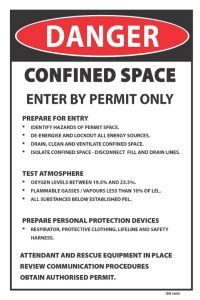 danger confined space enter by permit