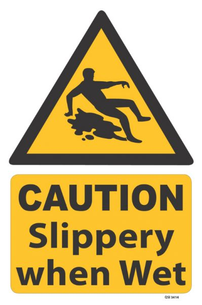 caution slippery when wet with image