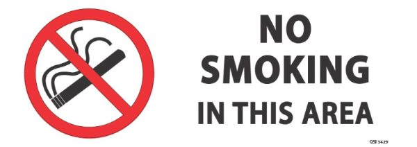 No Smoking In This Area 340mm x 120mm