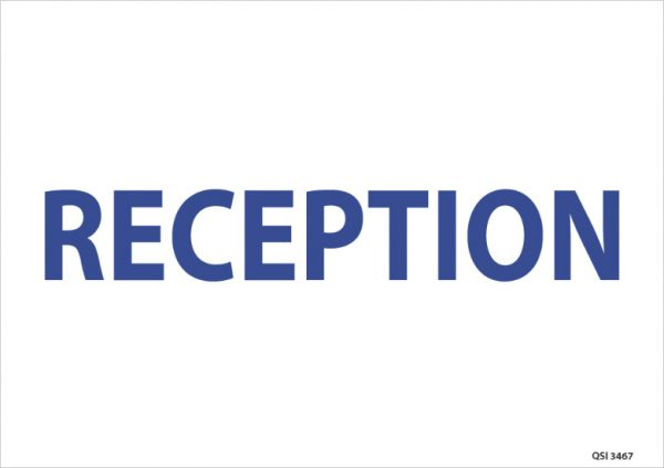 Reception Sign Blue On White
