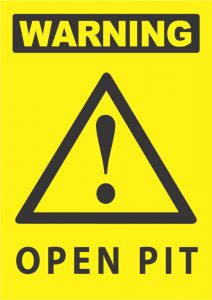 warning open pit exclamation mark