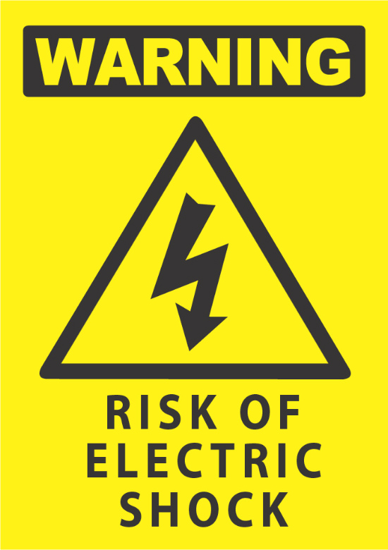 Warning Risk Of Electric Shock Industrial Signs