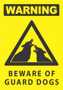 warning beware of guard dogs