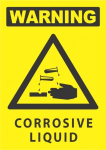 warning corrosive liquid