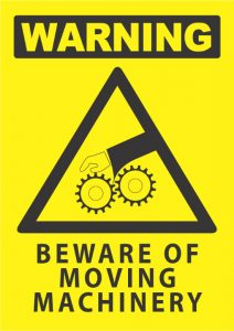warning beware moving machinery