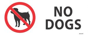 No Dogs 340mm x 120mm