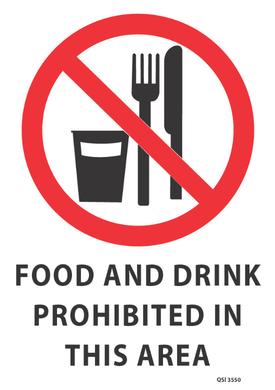 Food And Drink Prohibited Signs