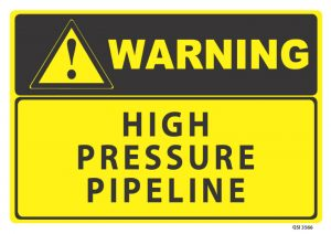 warning high pressure pipeline