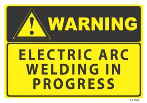 warning electric arc welding in progress