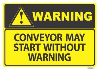 warning conveyor may start without warning
