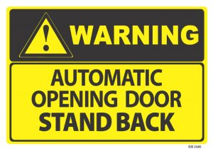 warning automatic opening door stand back