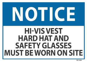 notice hivis vest hard hat safety glasses