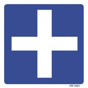 Blue First Aid Cross 180mm x 180mm