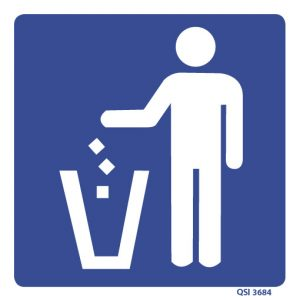 Rubbish Bin Sign 240mm x 240mm