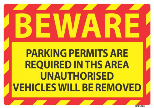 Beware Parking Permits Required
