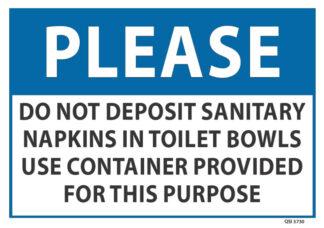 Please Do Not Deposit Sanitary Napkins