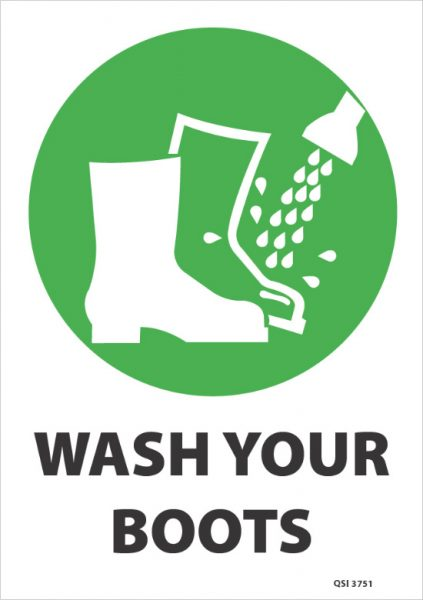 Wash Your Boots Green Industrial Signs