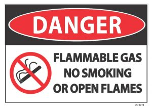 Danger Flammable Gas No Smoking Or Open Flames