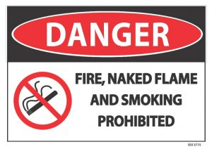 Danger Fire Naked Flame And Smoking Prohibited