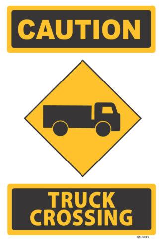 caution trucks crossing