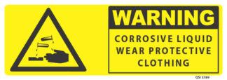 warning corrosive liquid wear protective clothing