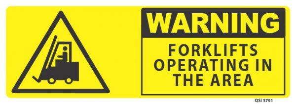 warning forklifts operating