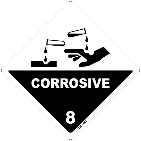 Corrosive 8 Sign 250mm x 250mm