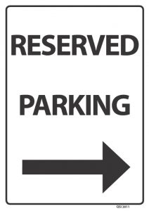 Reserved Parking Arrow Right Black