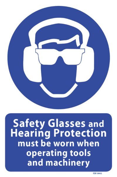 safety glasses and hearing protection