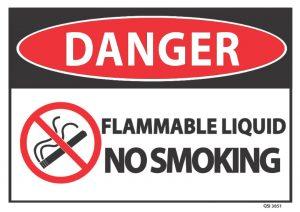 danger flammable liquid no smoking