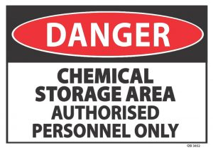 danger chemical storage area authorised personnel