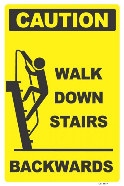caution walk down stairs backwards