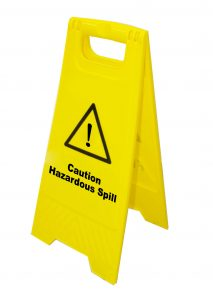 caution hazardous spill a frame
