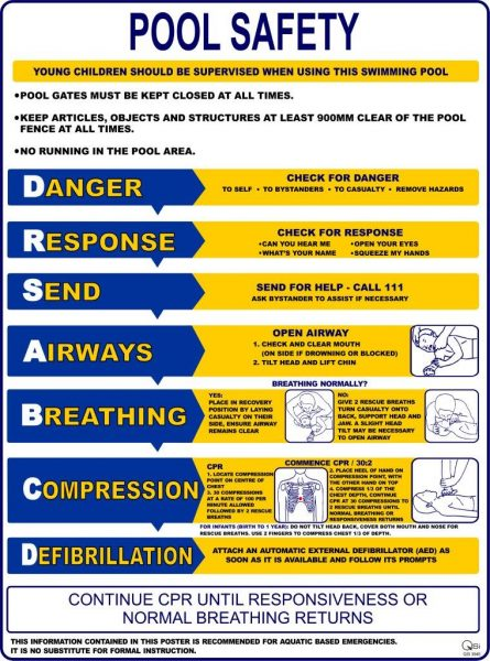 Pool Safety Action Sign 300mm x 450mm