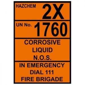 Hazchem Corrosive Liquid 3Z UN 1760