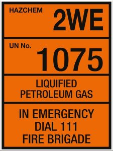 Hazchem Liquified Petroleum Gas 2WE UN1075