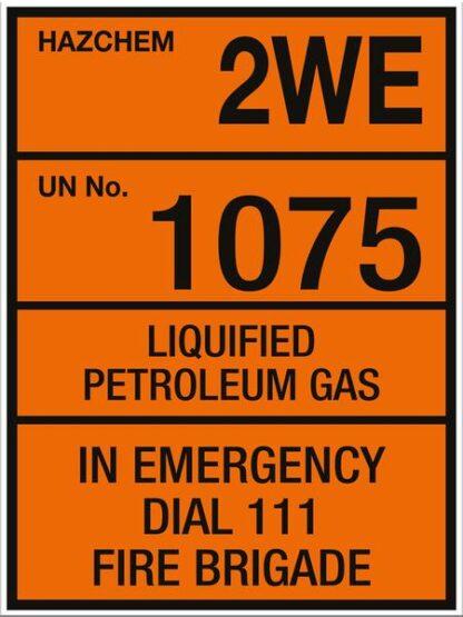 Hazchem Liquified Petroleum Gas 2WE UN1075