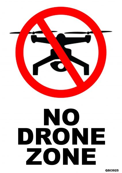 No Drone Sign 240mm x 340mm