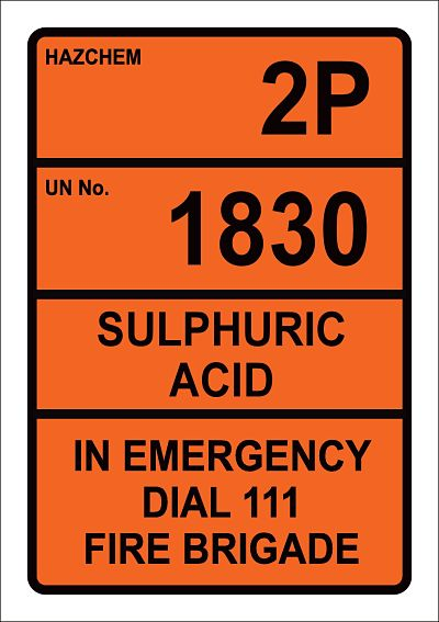 Hazchem 2P UN1830 Sulphuric Acid