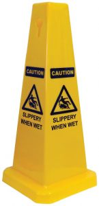 Cone Sign Caution Slippery When Wet